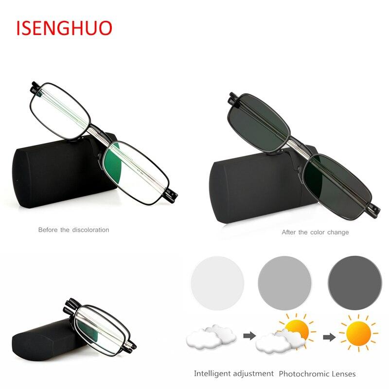 ISENGHUO Mini Transition Sun Photochromic Read Glasses Quality Foldable Read Glasses Folding Reading Glasses Women Men With Case