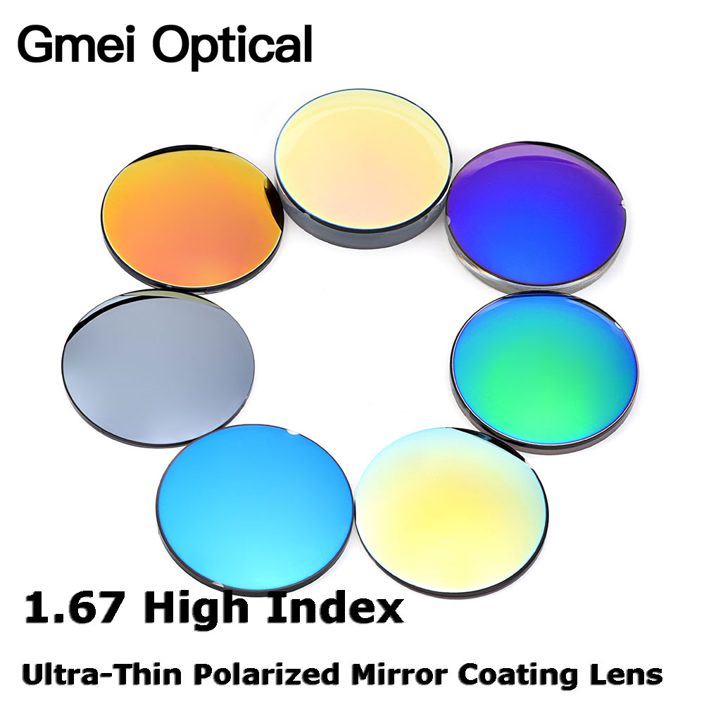 Gmei Optical 1.67 High Index Thin Mirror Coating Polarized Lenses Prescription Optical Sunglasses Mirror finish Coating Lenses