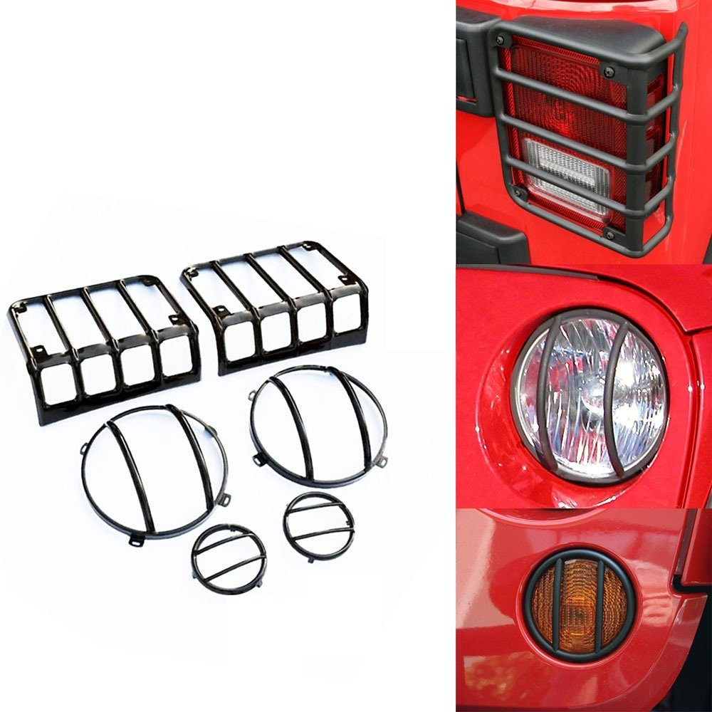 2PC LED Tail Light Covers /& Brake Light Guards For 2007~2018 Jeep Wrangler JK