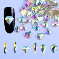 10 Uds blanco diamantes de imitación para uñas AB Ojo de caballo/Gota de agua/cristal de diamante de piedras para uñas de diseño brillante de 3d Diseño de Arte de uñas decoraciones BE532