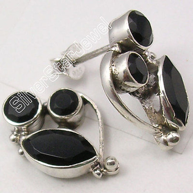 Solid Silver Wonderful BLACK ONYX BESTSELLER Studs Earrings1.9 CM BIJOUX NEW