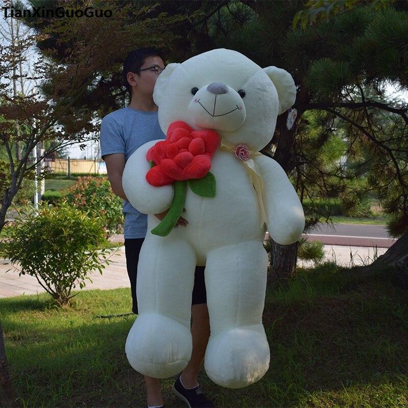 stuffed fillings toy huge 140cm white teddy bear plush toy hug red rose flower bear soft doll hugging pillow birthday gift s0618