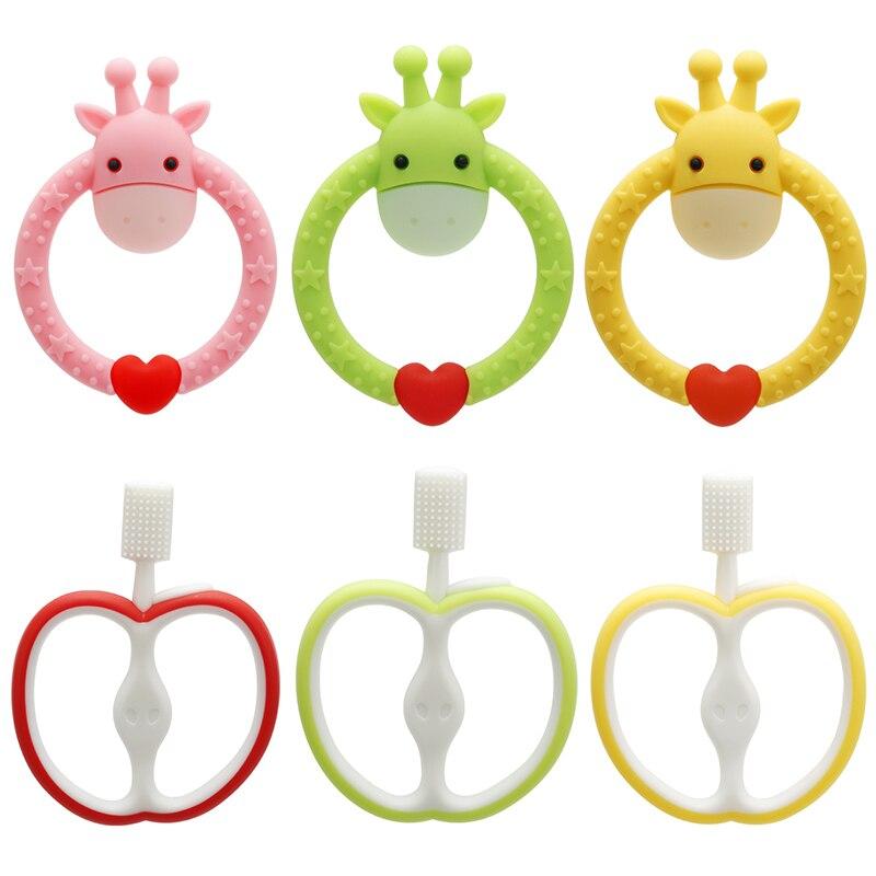 Giraffe Baby Teether Silicone Pacifier Cartoon Teething Nursing Silicone BPA Free Pendant Necklace Toys