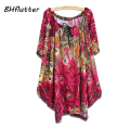 8 Colors 4XL 5XL 6XL Plus Size Women Clothing 2017 Bohemian Dress Casual Loose Summer Dresses Batwing Sleeve Tops For Big Women