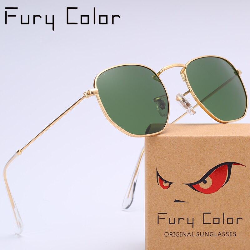Real Glass Lens Metal Hexagonal Sunglasses Men Womne Hot Rays HD Retro Round Sun Glasses Luxury