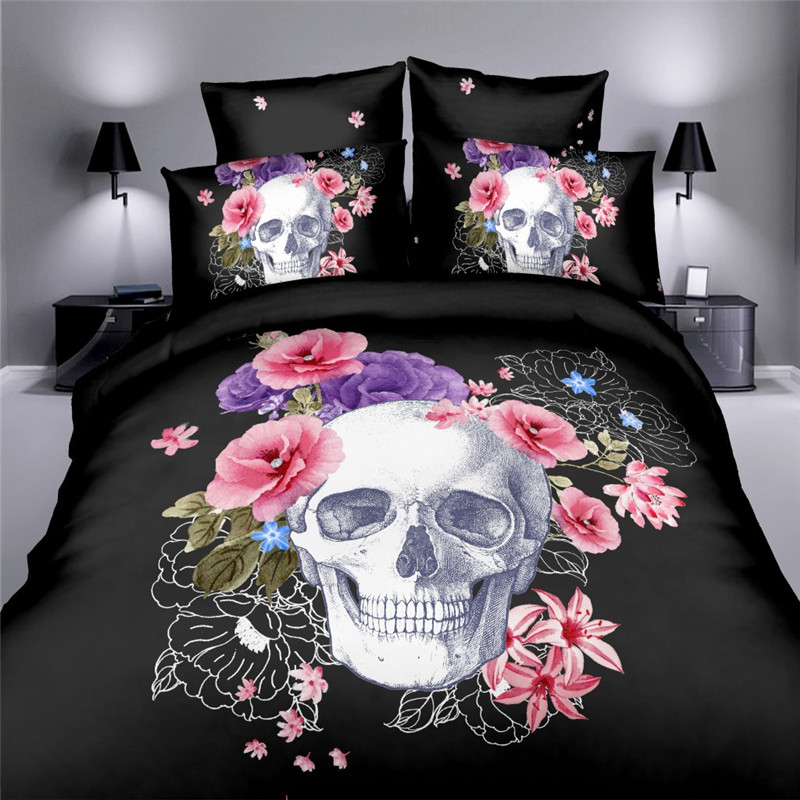 New 3D Print Wolf Bed Europe Style Sugar Skull Bedding Pink Flower Duvet Cover 3D Skull Bedding Set Plaid Duvet Covers King Size