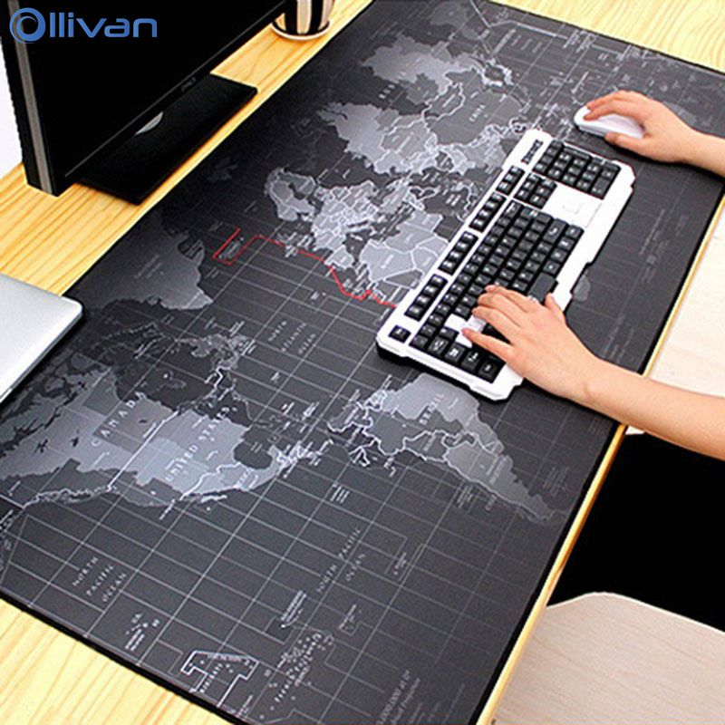 Ollivan Desk-Mat Keyboard-Pad Mouse-Pad Computer World-Map Gaming Large Extra Rubber
