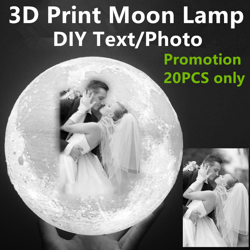 DIY Personalized Customized 2/16 Colors 3D Print LED Touch Switch Remote Control Moon Night Light Lamp Home Decor Best Price