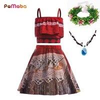 PaMaBa Summer Style Moana Princess Girls Dress Birthday Fantasy Kids Adventure Beach Outfit Off Shoulder Vaiana