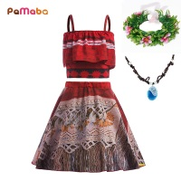 PaMaBa Summer Style Moana Princess Girls Dress Birthday Fantasy Kids Adventure Beach Outfit Off Shoulder Vaiana