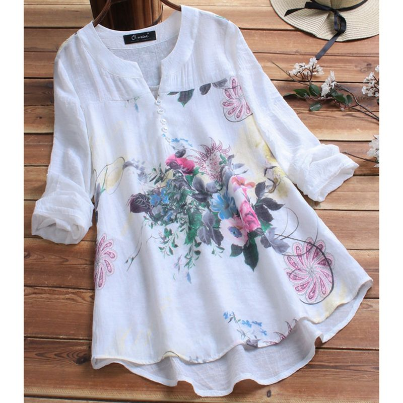 2019 Women Plus Size Casual Tops V Neck Long Sleeve Vintage Boho Floral Printed Patchwork Loose   Blouse     Shirt   Top M-5XL