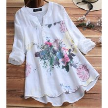 2019 Women Plus Size Casual Tops V Neck Long Sleeve Vintage Boho Floral Printed Patchwork Loose Blouse Shirt Top M-5XL attractive floral printed v neck long sleeve blouse for women