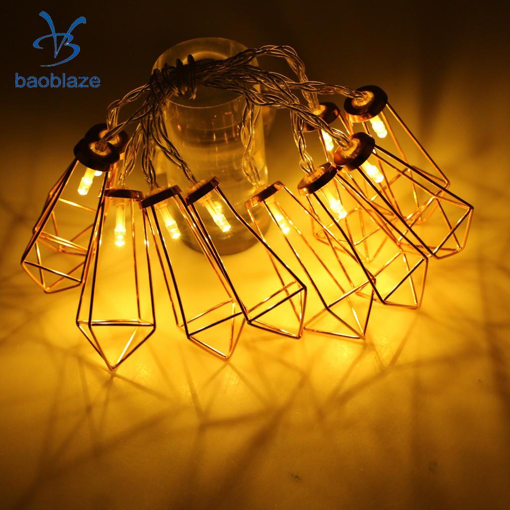 10LED Rose Golden Metal Diamond Shape Fairy String Light Wedding Party Christmas Indoor Outdoor Decor Battery Power(Warm White)