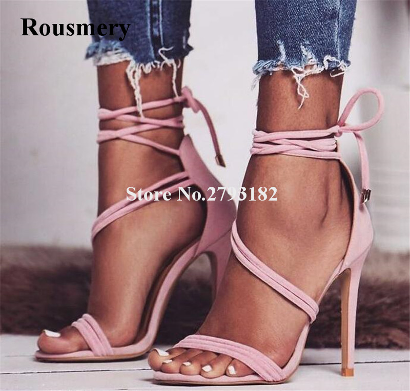 High Quality Women Fashion Open Toe Suede Leather Thin Heel Gladiator Sandals Lace-up Ankle Strap High Heel Sandals Dress Shoes fashion suede leather heeled sandals pointed toe lace up women pumps spikle high heel women shoes zapatos mujer