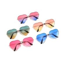 Driver Goggles Sunglasses Clear Rimless Heart-Shaped Metal UV400 Ladies Designer Women