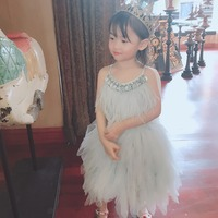 kids dresses for girls baby girl clothes girls Princess dress Ostrich feather decoration tutu dresses Send wings as gift