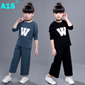 A15 Toddler Girls Clothing Sets 2017 Summer Girl Clothes 2 Piece Kids Clothes Set Children Sports Suit Tracksuit Age 6 8 10 Year