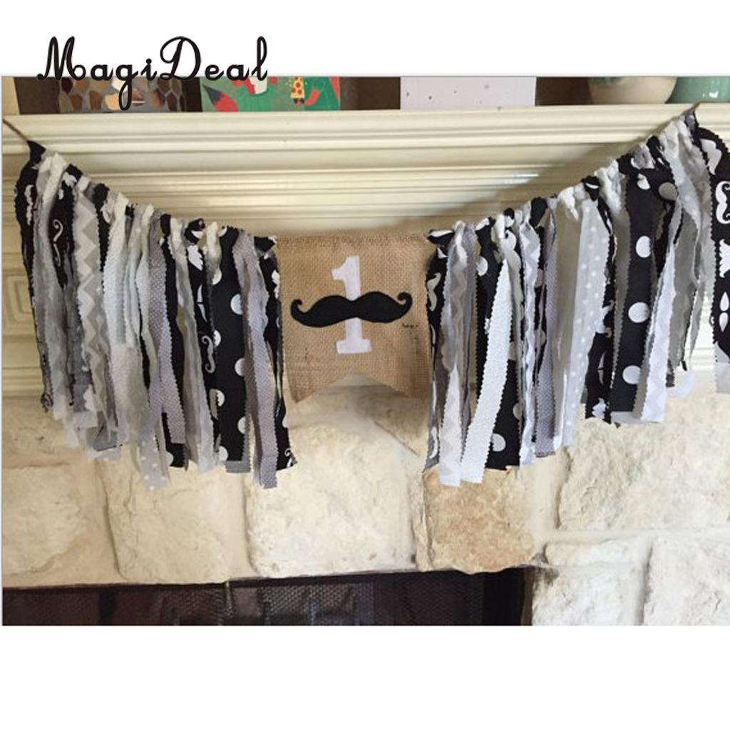 Baby Kids 1st Birthday Highchair Banner Mustache Rag Tied Wall Decoration Tribal Camping Woodland Garland Photo Shoot Prop