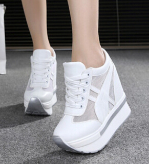 2017 Women Shoes Sexy Wedges Super High Heels 12CM Lace Up White Casual Shoes Women's Party Shoes Chaussure Femme Platform shoes