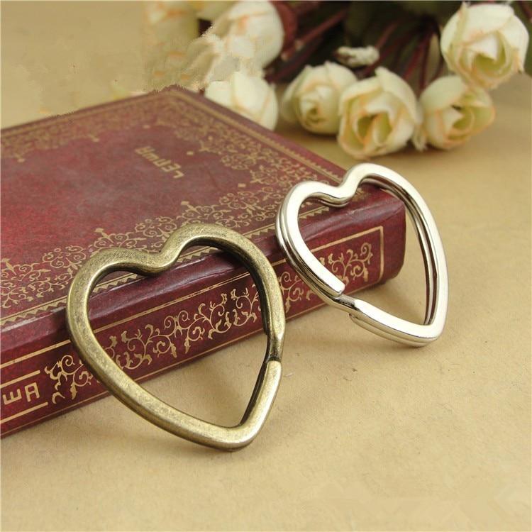 10 шт./лот, брелок для ключей в форме сердца из античной бронзы/родия, аксессуары для колец DIY