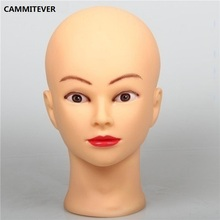 CAMMITEVER Mannequins PVC Female Bald Mannequin Head Model Wig Making Hat Glasses Display Stand