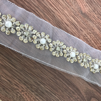 5.7 Yards Exquisite Gold Sequins Beaded Lace Trim On Mesh Pearl Bead Trimming For DIY Clothes Accessories