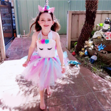 2019 Flower Girls Unicorn Tutu Dress Pastel Rainbow Princess Girls Birthday Party Dress Children Kids Halloween Unicorn Costume 3 10year flower girls fancy nancy tutu dress pastel rainbow princess girls birthday party dress children kids halloween costume