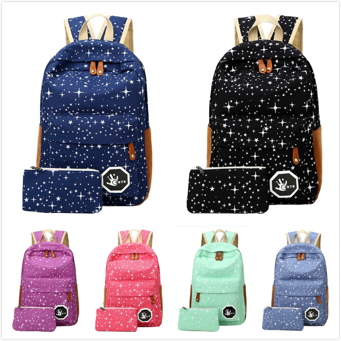 2 pcs/set Fashion Cute Star Women Men Canvas Printing Backpack School Bag For girl Boy Teenagers Casual Travel bag Rucksack 3 pcs set fashion canvas printing backpack women school bags for teenage girls cute book bag travel satchel rucksack