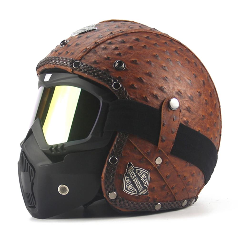 New Retro Vintage Motorcycle Helmet Chopper Scooter Synthetic Leather 3/4 Open Face Casco Moto Helmet DOT Capacete Mask Glasses