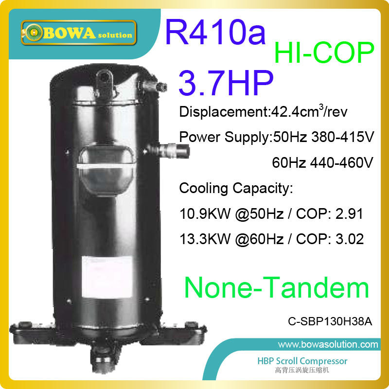 3.7HP R410a high backgroud coolant compressors are used in 15KW air source heat pump dryer chamber or commerce clothes dryers 11kw heating capacity r410a to water and 4 5mpa working pressure plate heat exchanger is used in r410a heat pump air conditioner