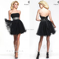Vestidos De Coctel Short Black Cocktail Dresses To Party A-Line Mini Strapless Lace-up With Beaded Organza Special Occasion Gown