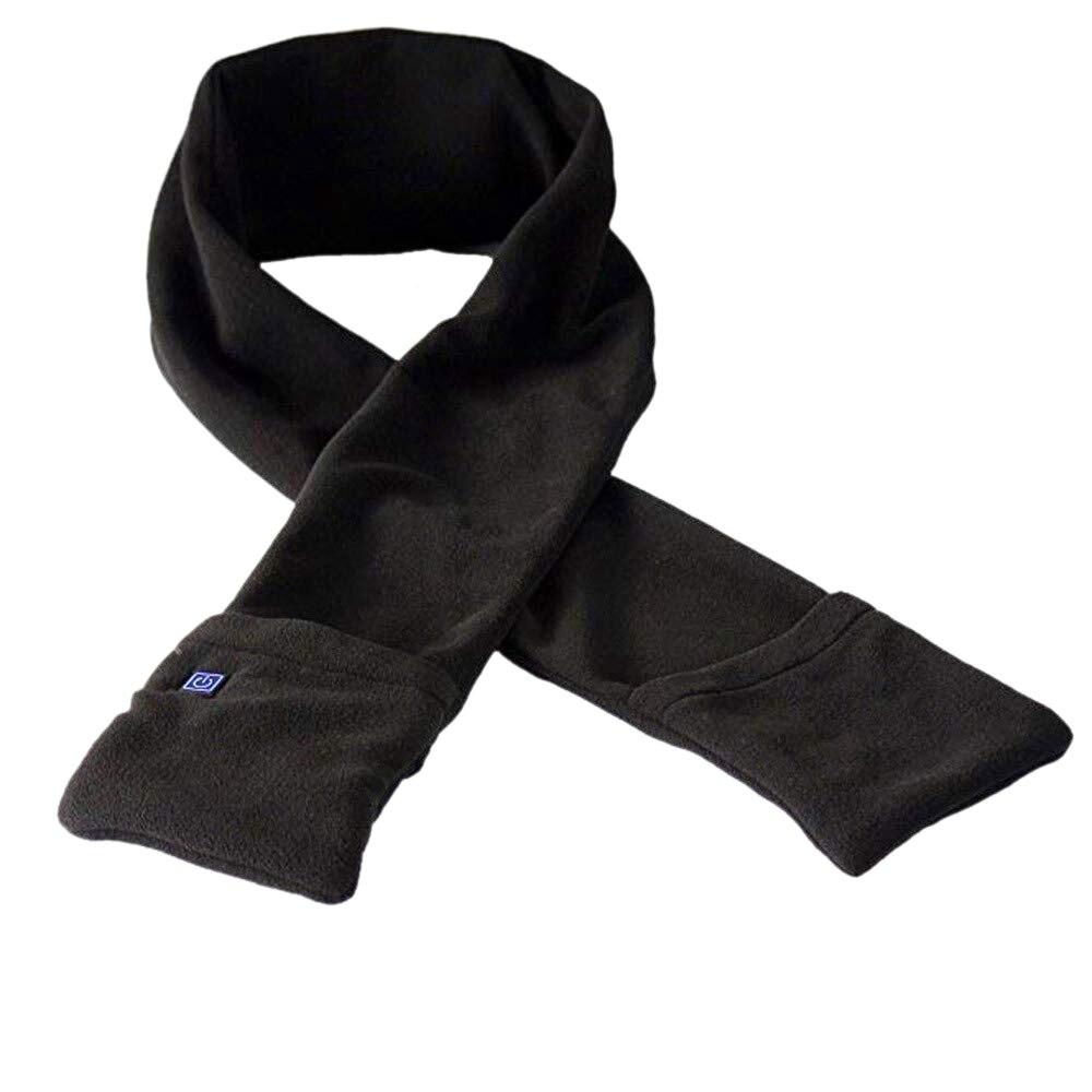 Usb теплый шарф, мягкая теплая шаль с карманами, унисекс, зимняя теплая накидка для шеи, для улицы, для подледной рыбалки, альпинизма, пешего туризма, велоспорта - Цвет: Black