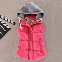 2015 New Hot Selling M 4XL 8 Colors Top Female Casual Jacket Down Cotton Vest Outerwear