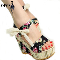 New Fashion Hot Sale Summer Wedges Sandals Female Shoes Women Platform Shoes Lace Belt Bow Flat