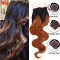 7А Перуанский Корпусных Волна Два Тона 1B 30 Девственницы волосы Ломбер Закрытие Объемная Волна 4x4 Lace Closure With Bleached узлы