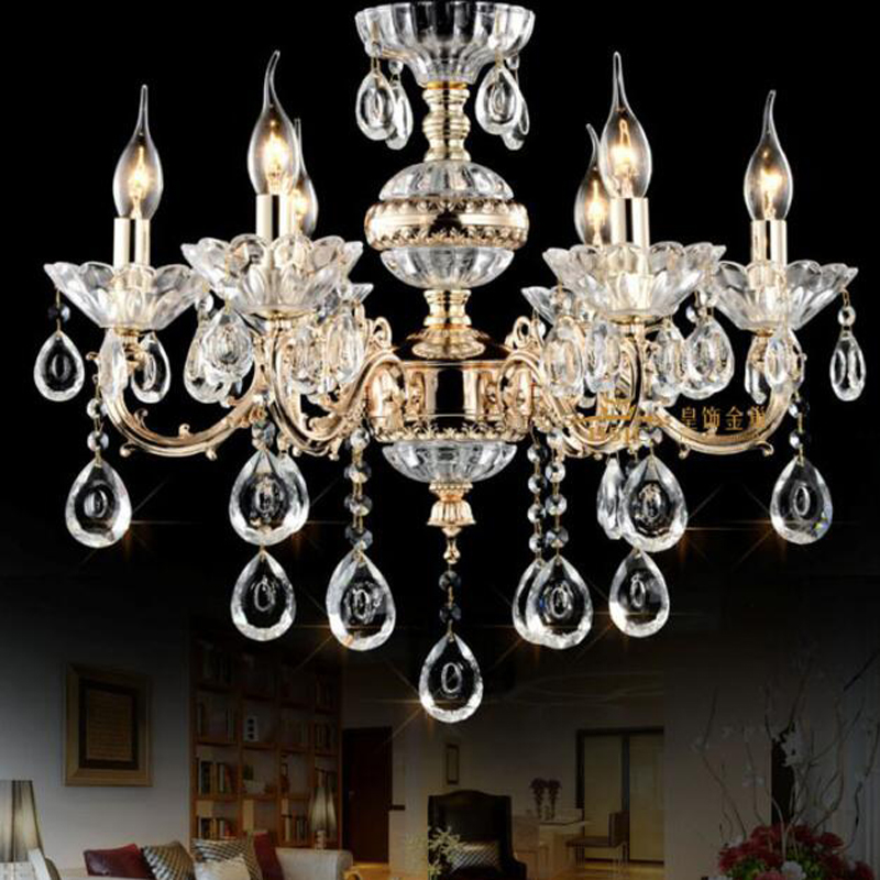 European alloy candle crystal chandelier Led living room dining room lamp bedroom lamp Villa hotel room lamp led lighting lamps black crystal chandelier light modern black chandelier lighting bedroom dining room living lobby lamp lighting candle bulb