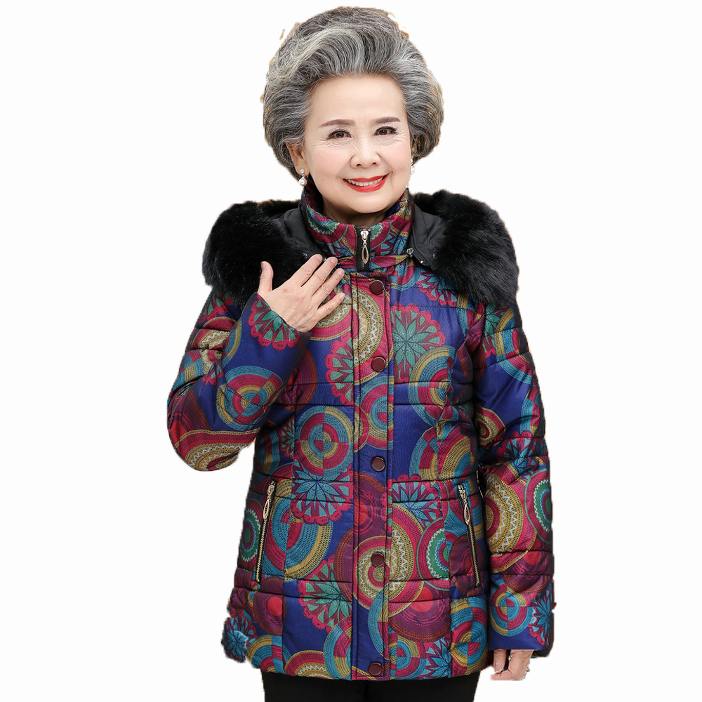 Elderly Women Puffer Jackets Withe Fur Hood Parka Grandmother Winter Warm Quilted Basic Coats Floral Printing Puff Coat