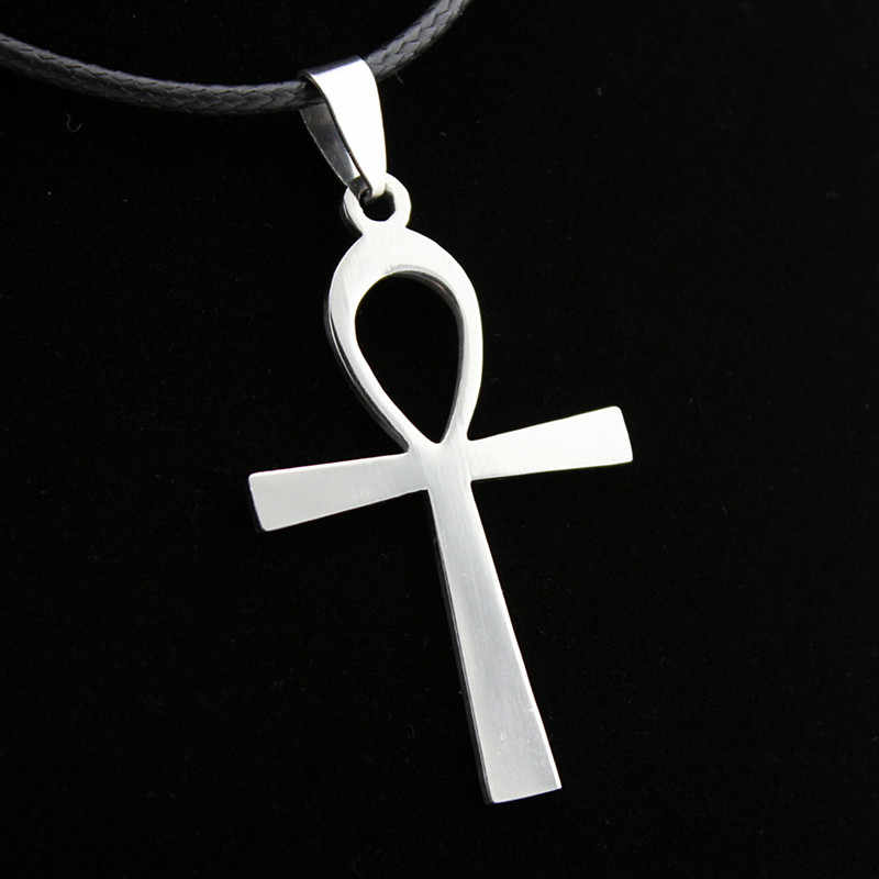 Men Necklaces Silver Anka Pendant Stainless Steel Leather PU Cord Chain Women Amulet Jewelry Statement Charm Cross Choker