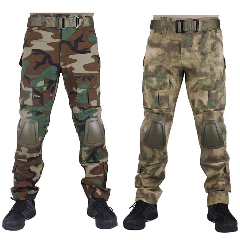 Camouflage military Combat pants Airsoft  paintball army cargo combat trousers with Removable knee pads emerson g2 tactical pants with knee pads airsoft combat training military trousers bdu army airsoft paintball pants em8525
