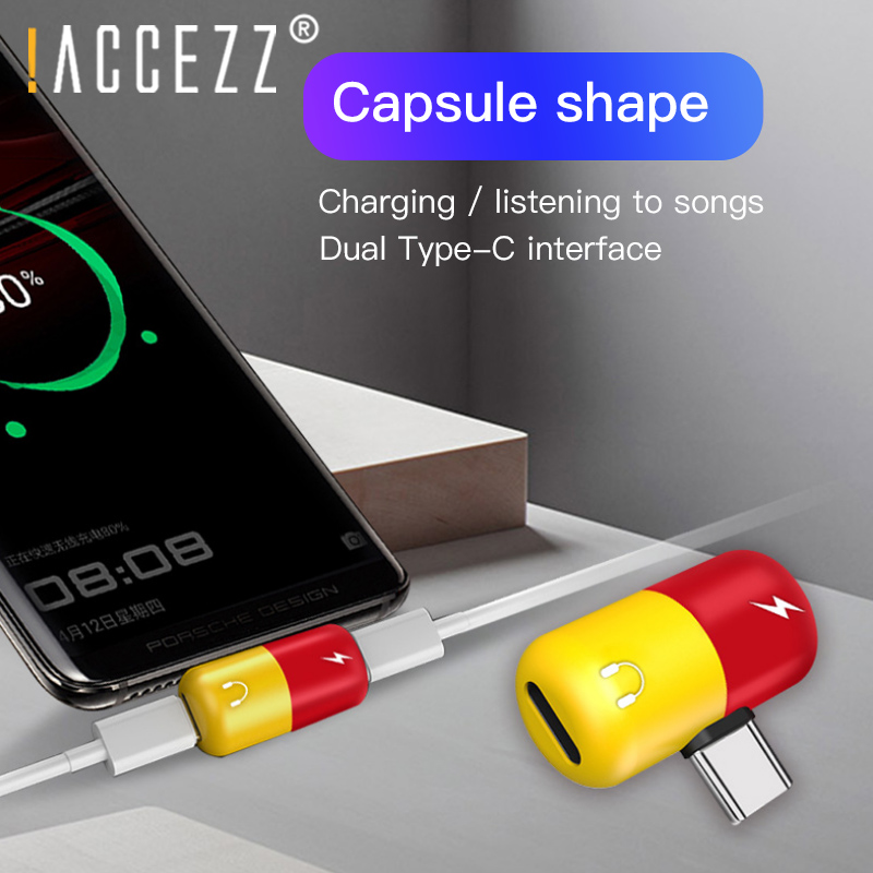 !ACCEZZ Pill Shape 3.5mm Jack Aux Adapter For HTC Oneplus 7 Pro Mi 9 Dual Type C For Huawei P20 Samsung S8 Mobile Phone Adapter