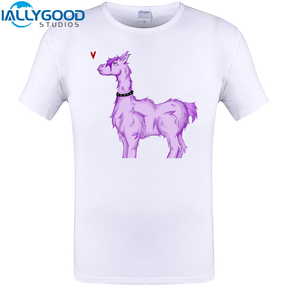 Cute Drama Llama Print Mens Fashion T shirt New Arrival Men Funny Animal Tops Short Sleeve O-Neck Tee Shirts Plus Size Clothing
