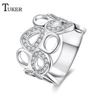 Tuker Design Inlaid Creative hollow geometry Zircon Elegant Wedding Rings For Women Exquisite Bridal Engagement Finger Ring