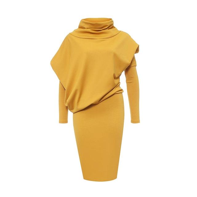 111d9b38dd5c2 2018 bandage dress women long Sleeve turtleneck office dress plus size  sheath Pulloverpatchwork yellow bodycon dress