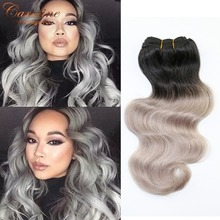 Hot Selling 7A Ombre Hair Extensions Brazilian Virgin Hair Body Wave 2 Tone Color 100% Human Hair Weaves Silver Grey Hair Weave