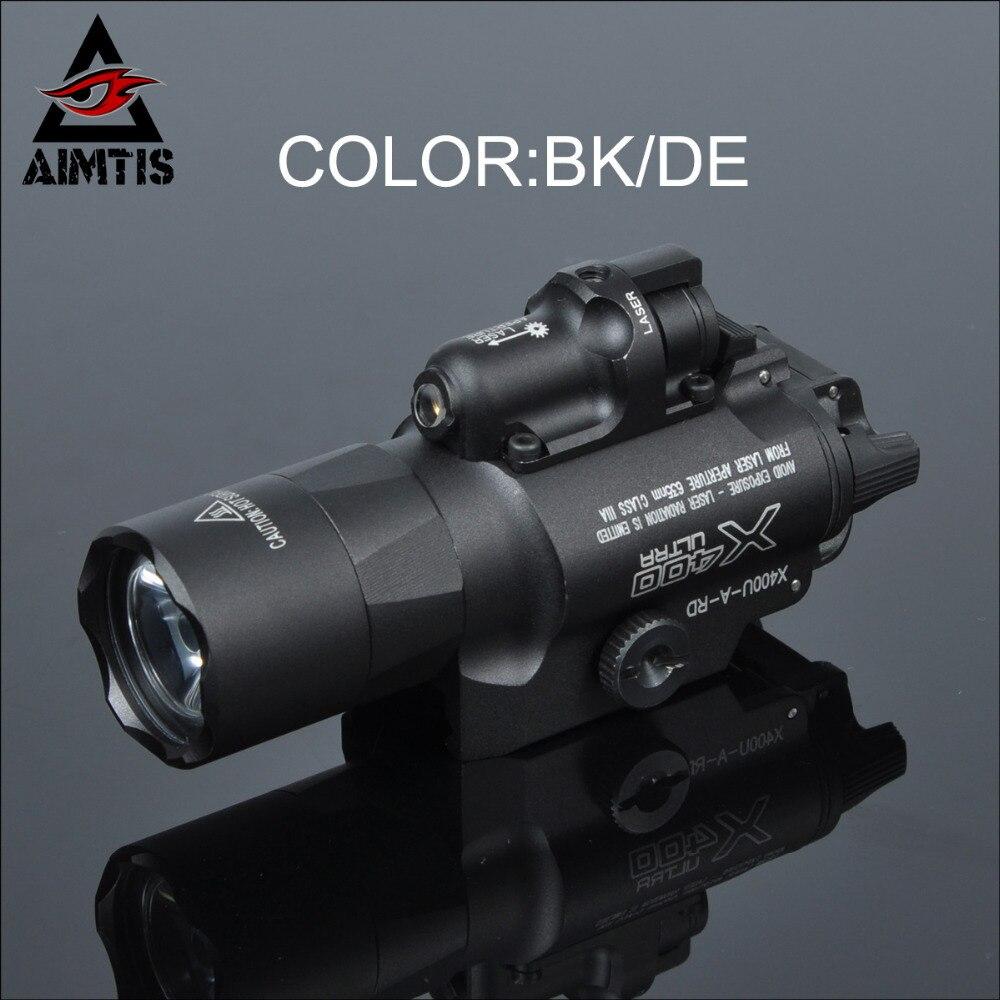 AIMTIS SF X400 Ultra Nuit Evolution Pistolet Lumière avec Laser Rouge Tactique Arme lampe de Poche Fit 20mm Picatinny Rail de Tisserand