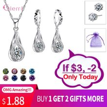 Drop Shipping Jewelry Sets Genuine 925 Sterling Silver Cubic Zirconia Pendant Necklaces+ Earrings Crystal Jewellery Gifts Women(China)