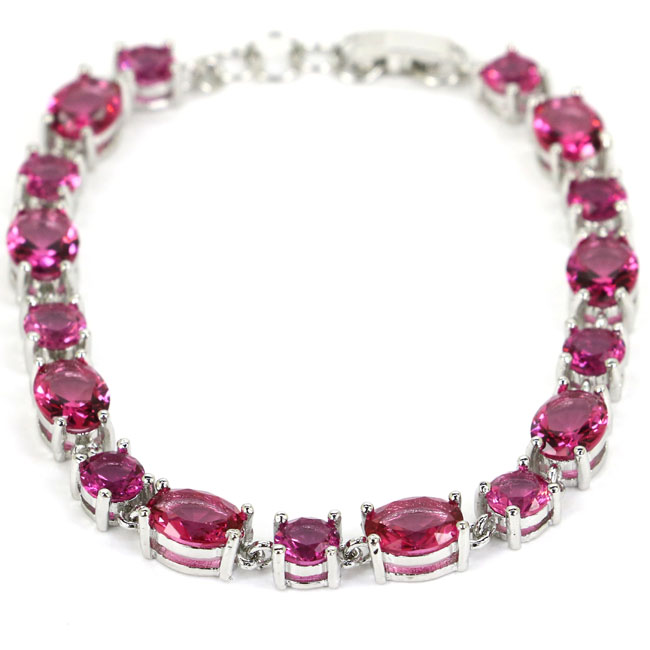 Gorgeous Pink Tourmaline SheCrown Ladies Gift Silver Bracelet 7.5inch 17x7mm