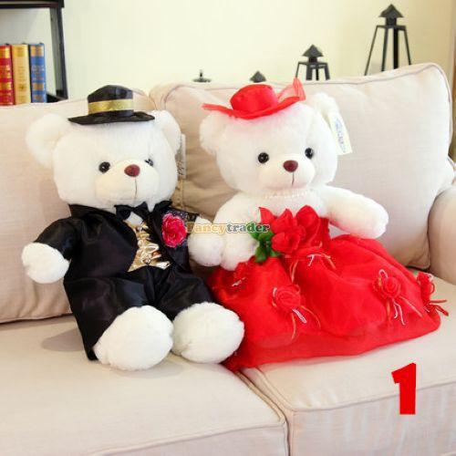 ФОТО Fancytrader High Quality Teddy Bear 2015 New 39'' 100cm 2 pcs Giant Plush Stuffed Wedding Dress Teddy Bears Many Models! FT90535