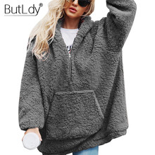Winter Plush Warm Sweatshirt Women Oversized Hoodie Zipper Top Sweatshirts Fluffy Faux Lamb Fur Pullover Casual Hooded Coat 2019