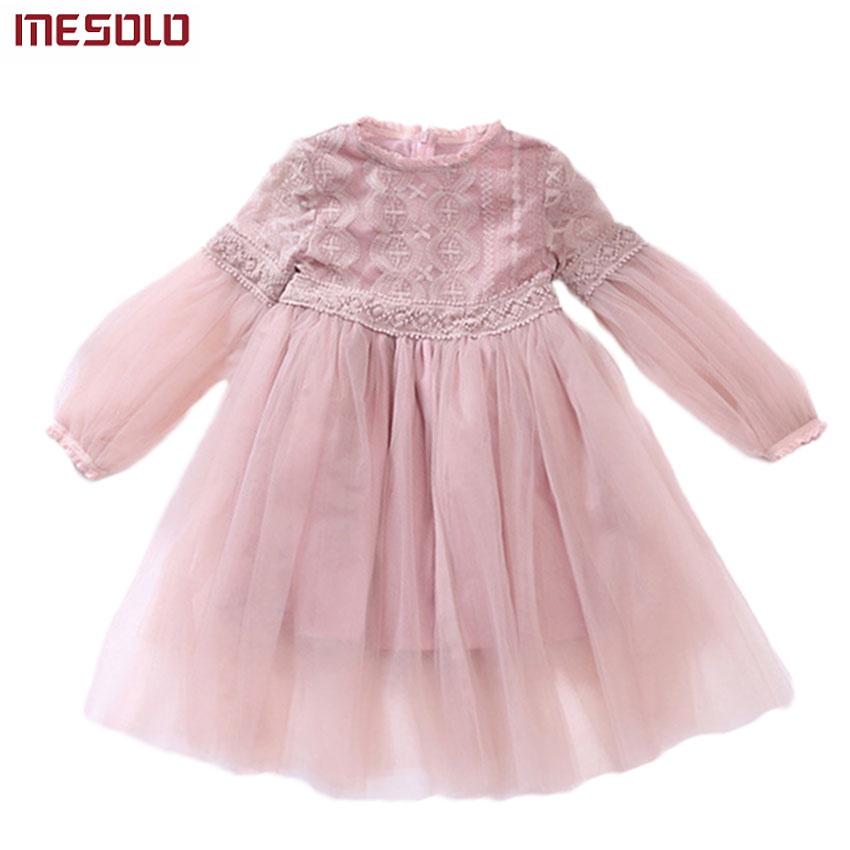 2017 New Dresses For Girls Cute Lace Solid Long Lantern Sleeve Children Dress O-Neck Ball Grown Party Princess Baby Kids Clothes baby girls knee length dress o neck full sleeve black&white striped child dresses new cotton kids clothes